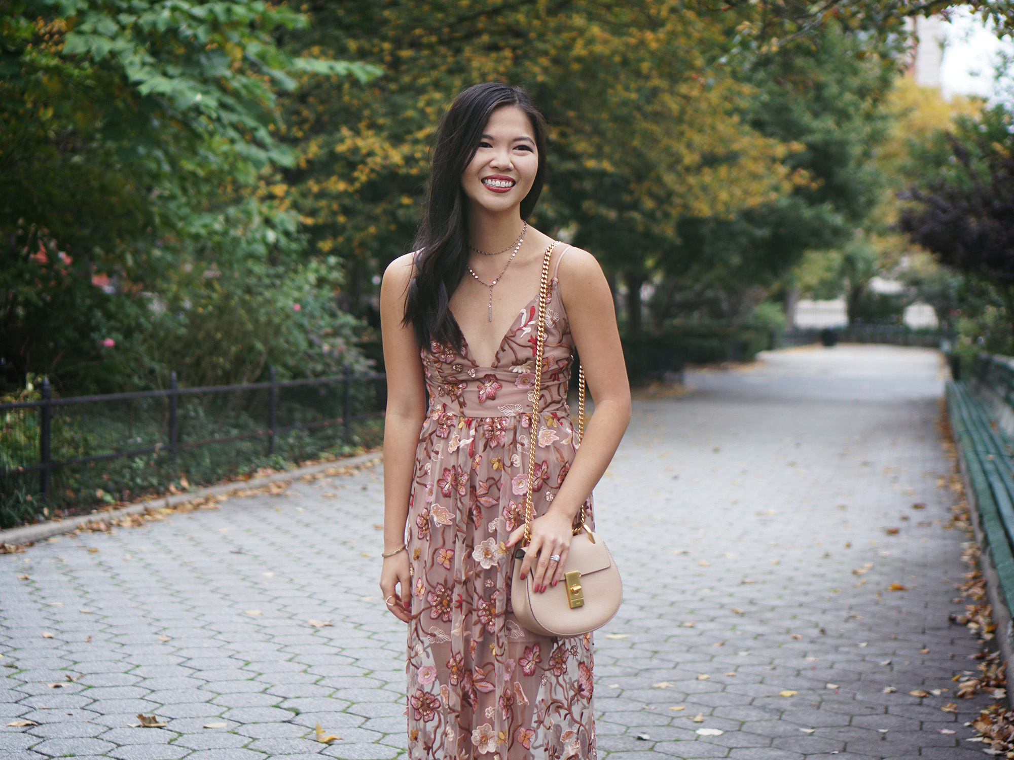 Fall Floral & Mesh Dusty Pink Midi Dress