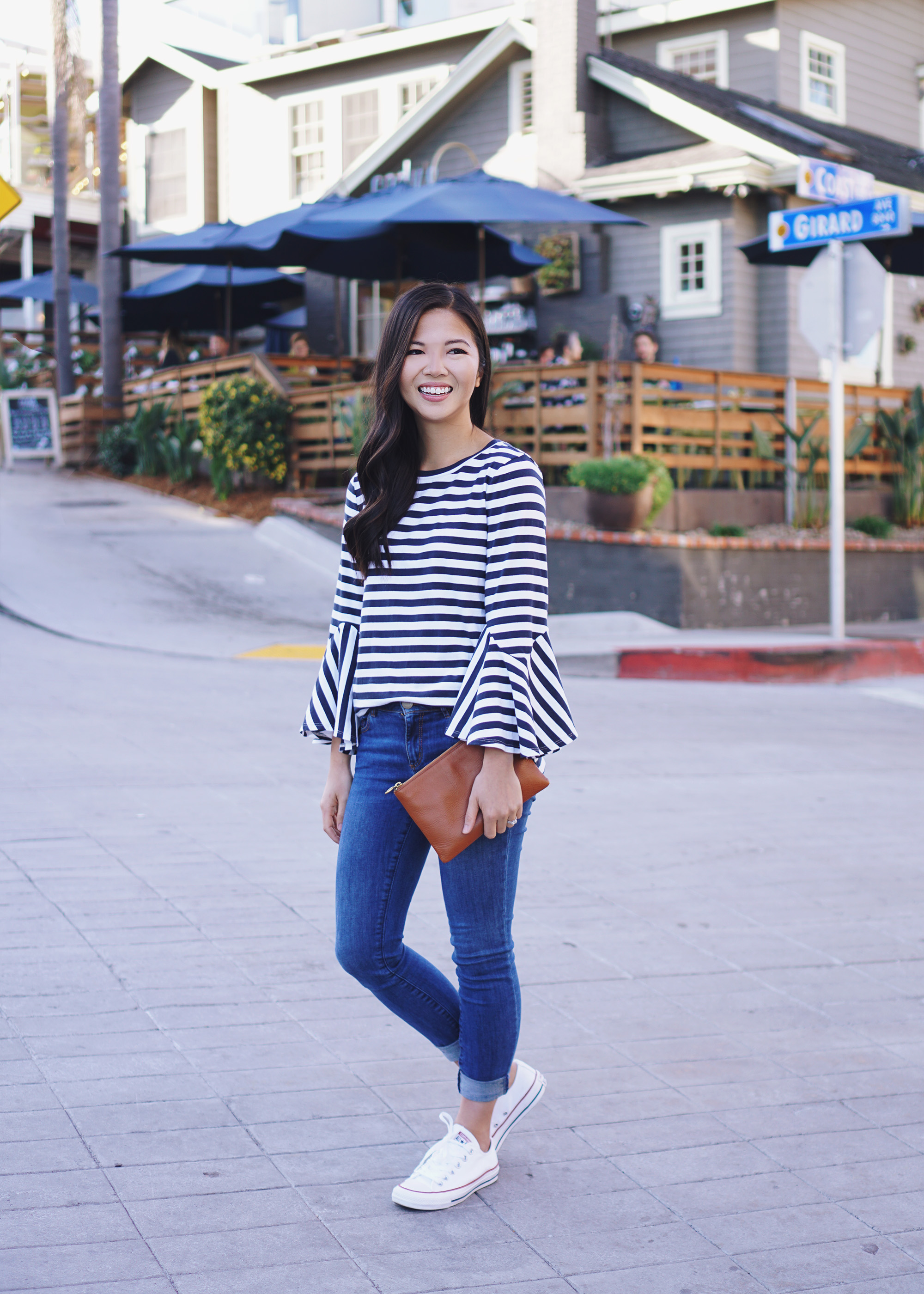 Navy and White Striped Bell Sleeve Top & Skinny Jeans