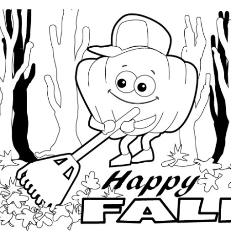 pumpkin raking leaves coloring page