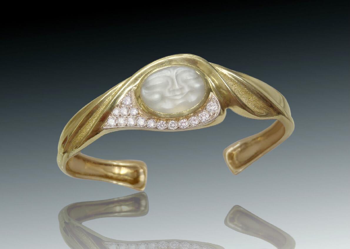 carved moonstone moonstone wedding rings Carved Moonstone Bracelet