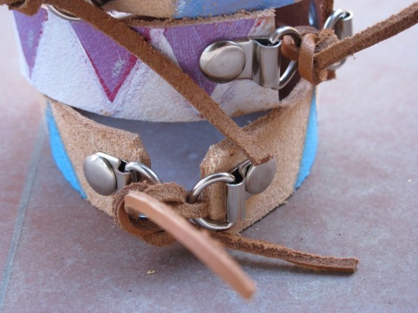 leather painted bracelets closeup