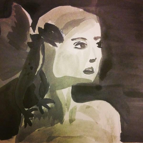 black and white watercolour with khaleesi daeneris tagaryen and dragon