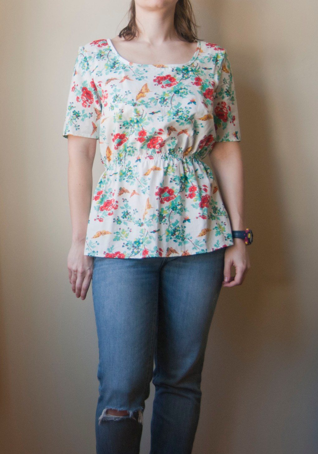floral peplum top_1