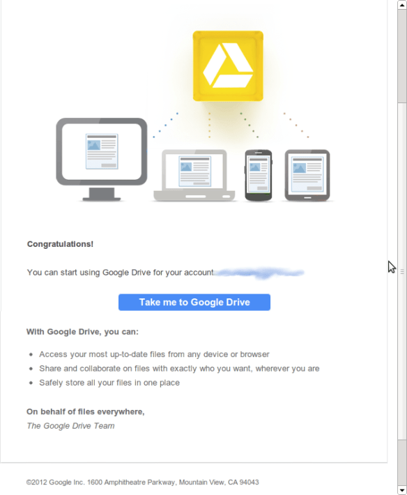 Email from Google on activation of G-drive
