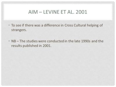Levine et al Using one or more research studies, explain cross-cultural differences in prosocial ...