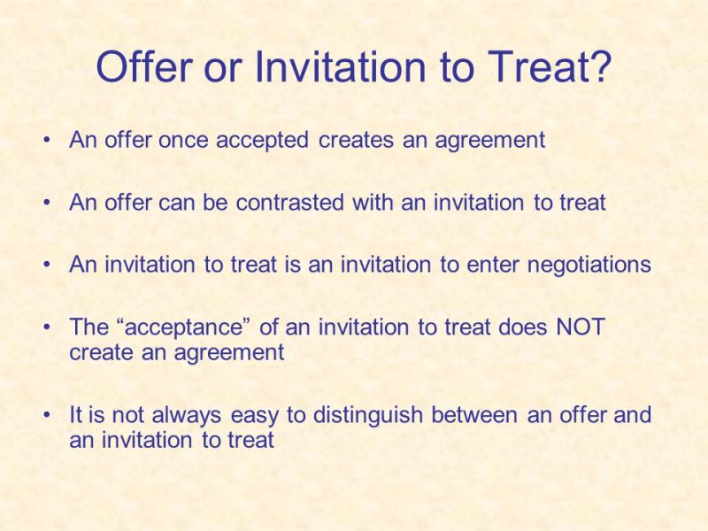 Distinguish between an offer and invitation to treat 3 offer or invitation to treat stopboris Images