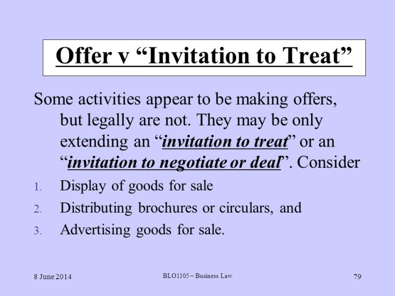 What is invitation to treat in business law invitationswedd offer v invitation to treat welcome to business law ppt stopboris Choice Image