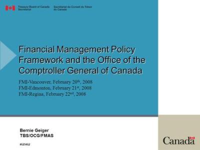 CFO Model December 2007 Bill Matthews A/Executive Director Government Accounting and Policy ...