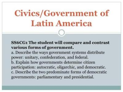 Government Systems in Latin America Unitary, Confederation, Federal Unit 8 Notes Unitary ...