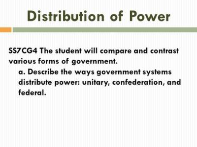 Government Systems Unitary, Confederation, Federal Unit 12 Notes Unitary, Confederation, Federal ...