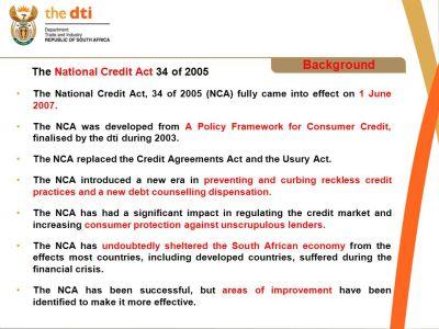 PRESENTATION ON THE NATIONAL CREDIT AMENDMENT BILL - ppt download
