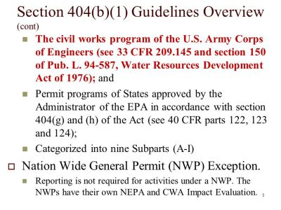 Section 404 of the Clean Water Act 404(b)(1) Guidelines Field Exercise - ppt download