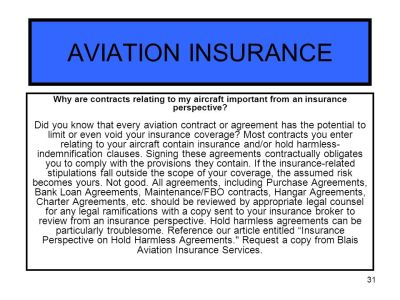 AVIATION INSURANCE Blais Aviation Insurance Services - ppt download