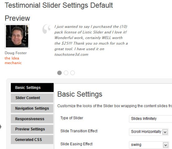 Preview Slider on Settings Page