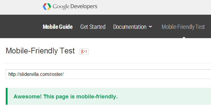 Roster Slider page itself is running Roster Slider demo and passed Google Mobile-friendly test.