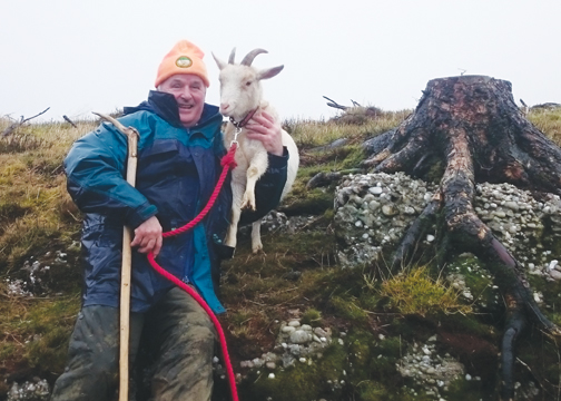 Joe O'Shea with 'Susie' Imbolc Festival Goat 2016 at the Bracket Stones on Spink Hill in The Slieve Bloom Mountains