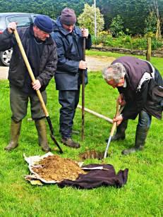 Christy, Michael and Johnny hard at work erecting the May Bush - photo Kathleen Culliton