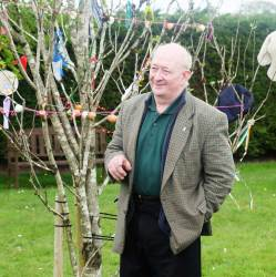 Mick Dowling, this year's speaker on the Bealtaine customs, Rosenallis, 2016 - photo Kathleen Culliton