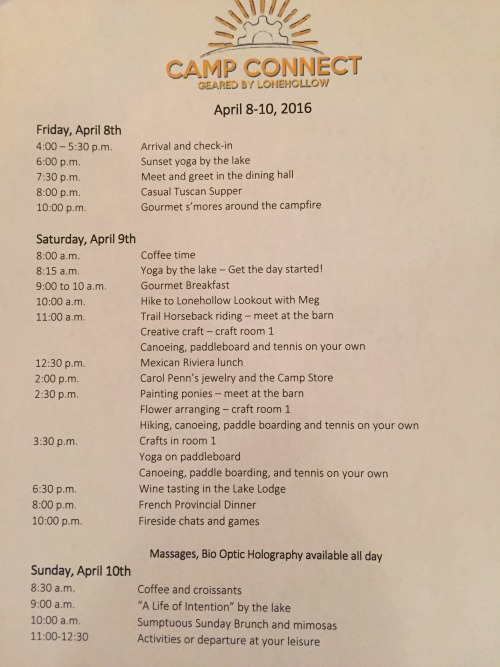 schedule of activities at Camp Connect geared by Lonehollow