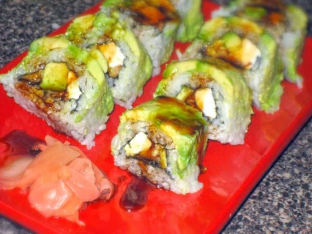 Salmon Avocado Eel Sushi Roll Recipe — Dishmaps