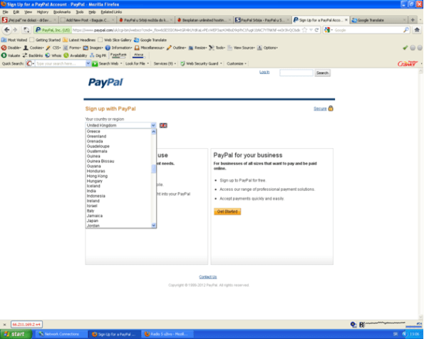 PayPal sign up forma