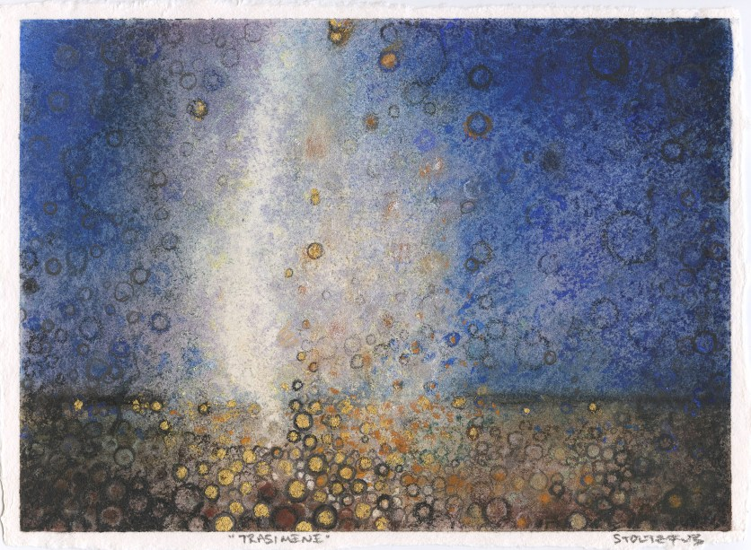 """Trasimene,"" by Randall Stoltzfus, 2012, pigment and gold leaf on paper, 6.5""x9"""