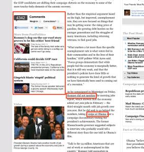 관련 기사와 링크가 잘 병기된 워싱턴 포스트 기사의 예