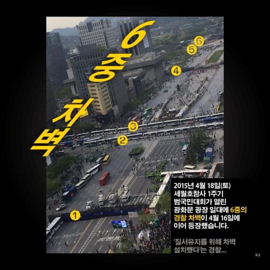 경찰 차벽, 왜 위헌·위법인가? 2/9 - 2015년 4월 18일(토) 세월호참사 1주기 범국민대회가 열린 광화문 광장 일대에 6중의 경찰 차벽이 4월 16일에 이어 등장했습니다. '질서유지를 위해 차벽 설치했다'는 경찰...