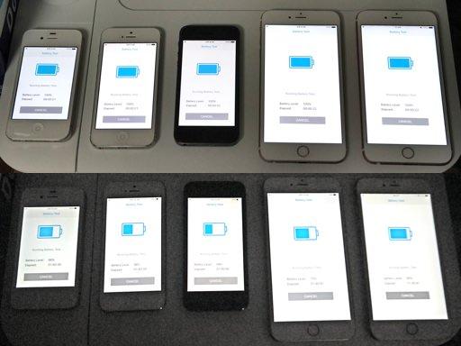 아이폰 4S, 5, 5s, 6+, 6s+ 에 긱벤치 3 배터리 테스트 실행 중