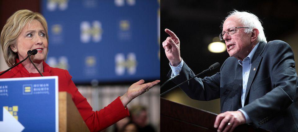 힐러리 클린턴 vs. 버니 샌더스 (출처: 힐러리 클린턴, Gage Skidmore, Hillary Clinton, CC BY SA ㅣ 버니 샌더스 Gage Skidmore, Bernie Sanders, CC BY SA)
