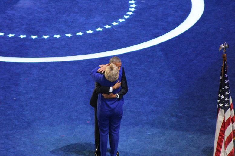 Sarah Burris, President Barack Obama and Hillary Clinton Hug, CC BY https://flic.kr/p/KznNqX