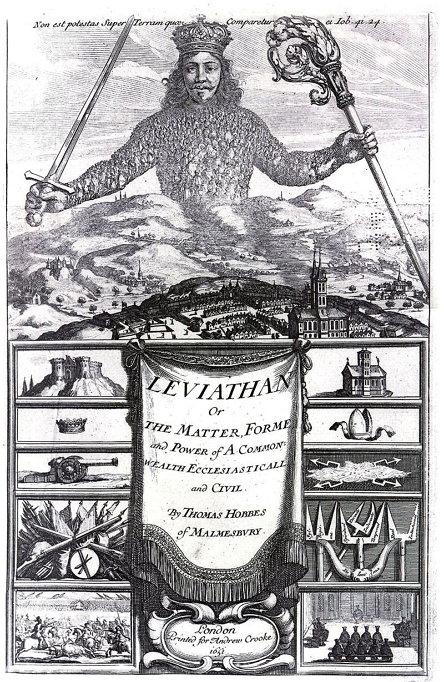 토마스 홉스, [리바이어던] (1651)의 표지. 리바이어던은 구약성서 욥기 41장에 나오는 바다 괴물의 이름으로, 인간의 힘을 넘는 매우 강한 동물을 뜻한다. 홉스는 국가라는 거대한 창조물을 이 동물에 비유했다.