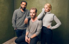 "PARK CITY, UT - JANUARY 24:  (L-R) Actors Chiwetel Ejiofor, Chris Pine and Margot Robbie from ""Z for Zachariah"" pose for a portrait at the Village at the Lift Presented by McDonald's McCafe during the 2015 Sundance Film Festival on January 24, 2015 in Park City, Utah.  (Photo by Larry Busacca/Getty Images)"