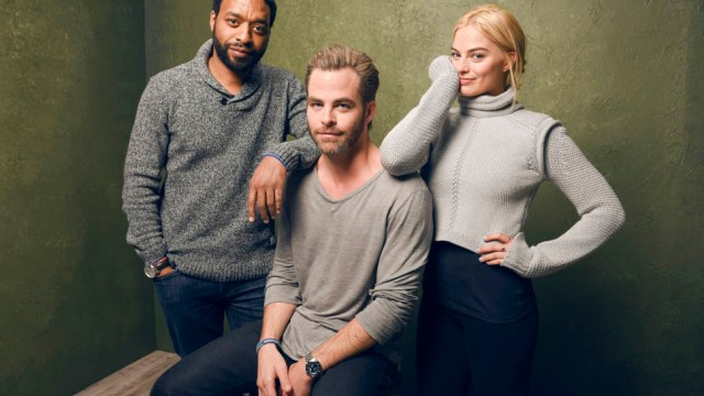 """PARK CITY, UT - JANUARY 24:  (L-R) Actors Chiwetel Ejiofor, Chris Pine and Margot Robbie from """"Z for Zachariah"""" pose for a portrait at the Village at the Lift Presented by McDonald's McCafe during the 2015 Sundance Film Festival on January 24, 2015 in Park City, Utah.  (Photo by Larry Busacca/Getty Images)"""