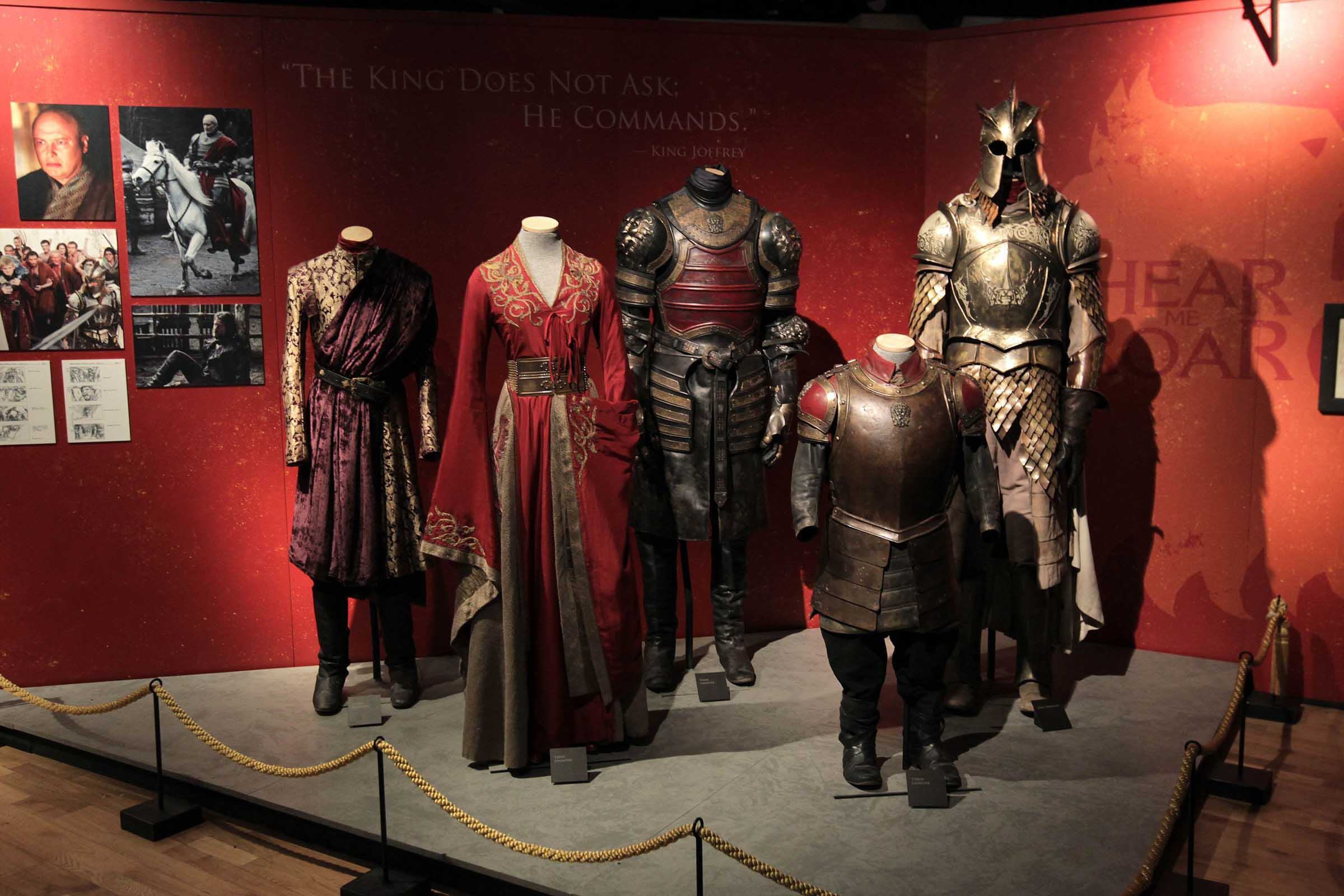 Pictured are costumes and outfits from HBO's Game of Thrones Exhibition which opens at Titanic Belfast tomorrow (June 8) until June 17. More than 13,500 fans have already booked up tickets to the hotly-anticipated exhibition which was brought to Northern Ireland by NITB in partnership with NI Screen and Titanic Belfast. Belfast is the only city in the British Isles hosting the exhibition at Titanic Belfast and 30% of bookings have been made by fans as far afield as Australia, the Philippines and the USA.