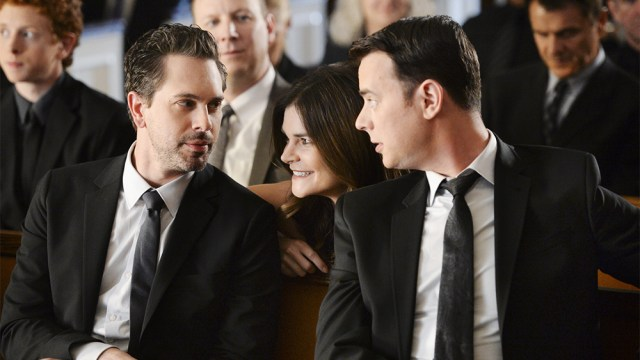 LIFE IN PIECES is CBS's new single camera comedy about one big happy family and their sometimes awkward, often hilarious and ultimately beautiful milestone moments as told by its various members. Pictured left to right, Thomas Sadoski as Matt, Betsy Brandt as Heather and Colin Hanks as Greg. Photo: Darren Michaels/CBS ©2015 CBS Broadcasting, Inc. All Rights Reserved