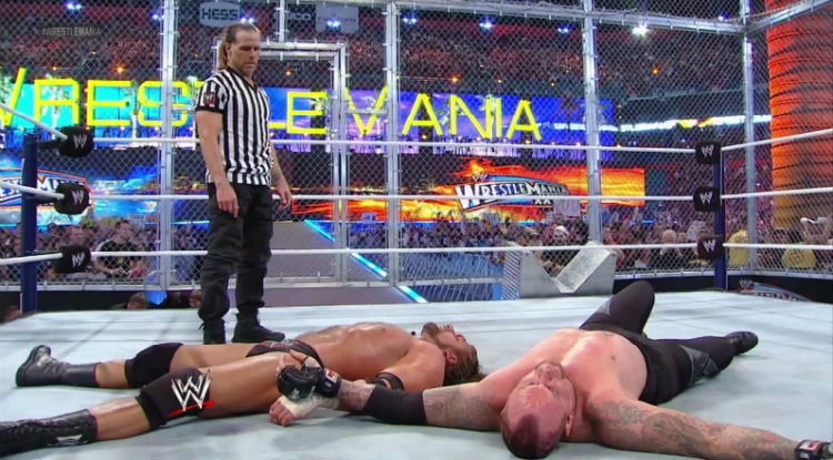 triple h vs undertaker wrestlemania hell in a cell end of an era
