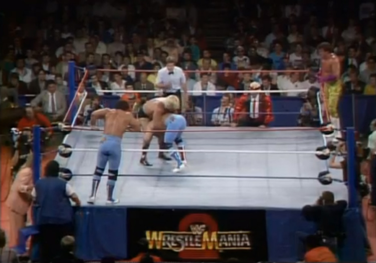 wrestlemania 2 british bulldogs vs valentine & beefcake
