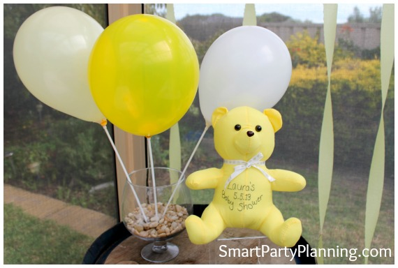 Yellow baby shower decorations