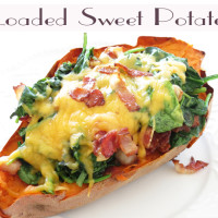Loaded sweet potato with spinach, bacon and cheese I Smart Party Planning