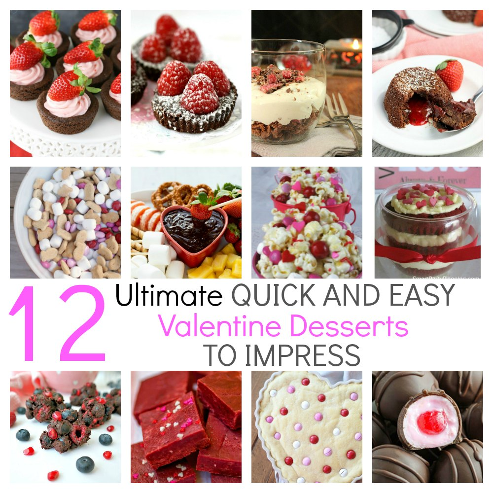 12 ultimate quick and easy Valentine desserts.  They are all easy, simple and fun to make, but each one will win your heart. There is chocolate, fudge, cookie, cake, or something fruity.  There is something to be found for everyone, with no shortage of ideas you will love.