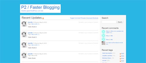 p2 wordpress microblogging theme 12 Open Source Microblogging Software