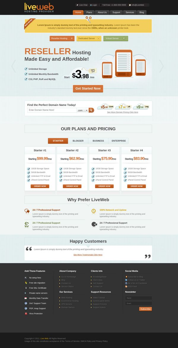 Wordpress Web Hosting Theme