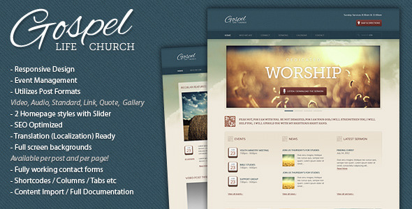 free and premium church wordpress themes gospel 30 Free and Premium Church Wordpress Themes