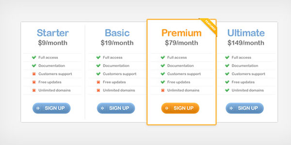 pricing table psd templates 17 37 Free Pricing Table PSD Templates