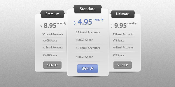 pricing table psd templates 22 37 Free Pricing Table PSD Templates