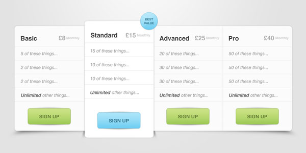 pricing table psd templates 26 37 Free Pricing Table PSD Templates