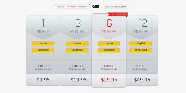 pricing table psd templates 34 37 Free Pricing Table PSD Templates