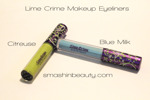 Lime Crime Makeup Review Eyeliners Citreuse Blue Milk swatches Fail Lime Crime Scam