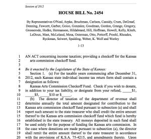 Kansas House Bill 2454: Arts Commission